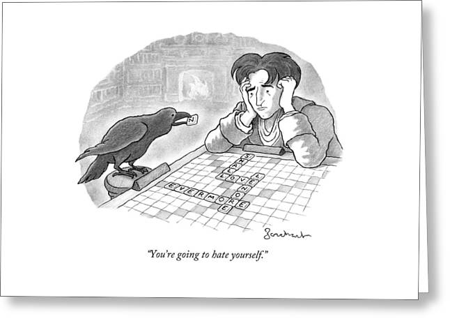A Raven Is About To Add An N To The Word Evermore Greeting Card