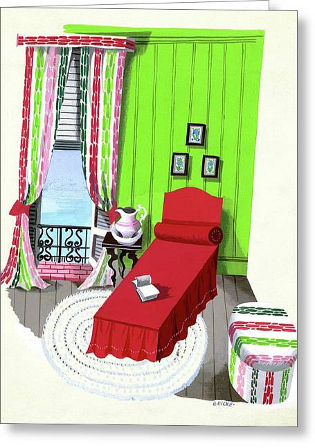 A Red Bed In A Bedroom Greeting Card