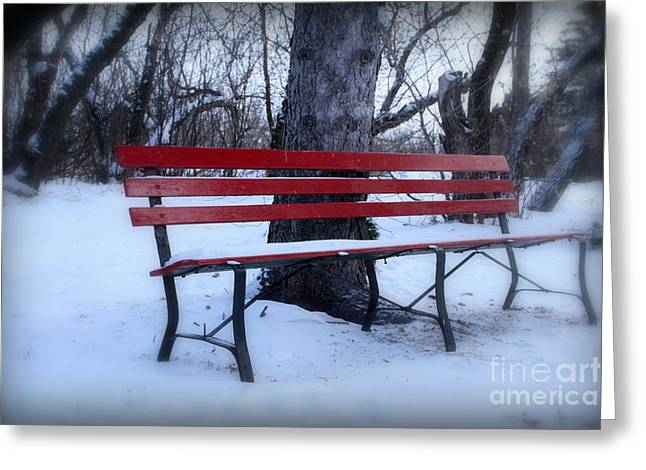A Red Bench Waiting For Spring Greeting Card