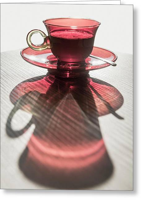 A Red Glass Cup A Saucer Greeting Card by Mats Silvan