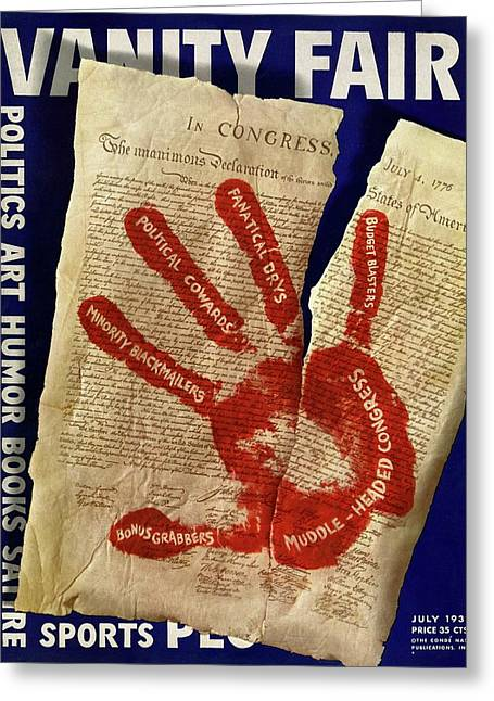 A Red Handprint On The Constitution Greeting Card by Artist Unknown