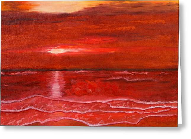 Greeting Card featuring the painting A Red Sunset by J Cheyenne Howell