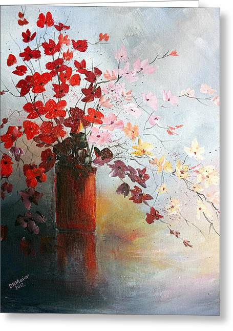 Greeting Card featuring the painting A Red Vase by Dorothy Maier