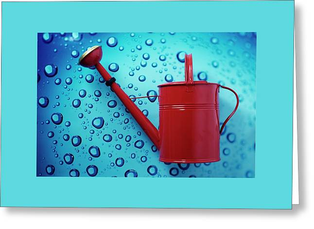 A Red Watering Can Greeting Card by Romulo Yanes
