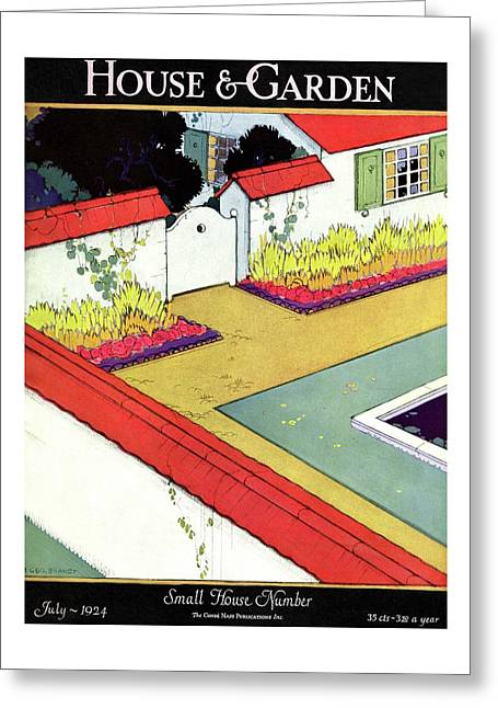 A Reflecting Pool And Garden Greeting Card