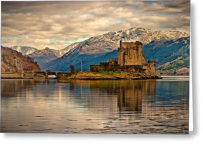 A Reflection At Eilean Donan Castle Greeting Card by Chris Boulton