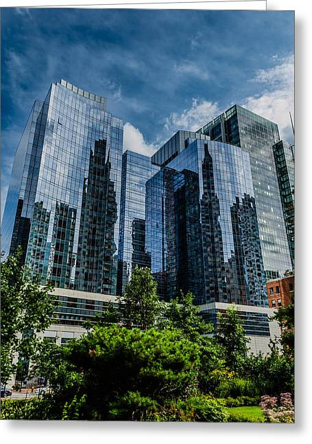 A Reflection Of Boston Greeting Card by Alan Marlowe