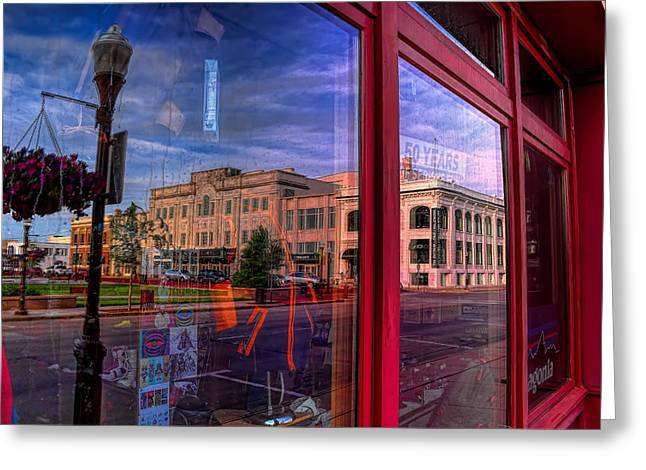 A Reflection Of Wausau's Grand Theater Greeting Card by Dale Kauzlaric