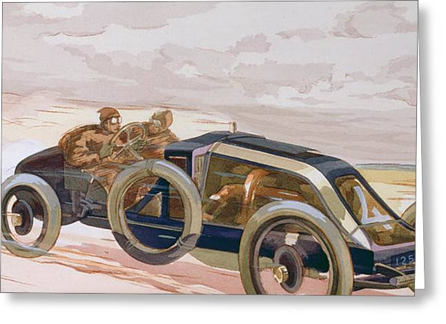 A Renault Racing Car Greeting Card by Ernest Montaut