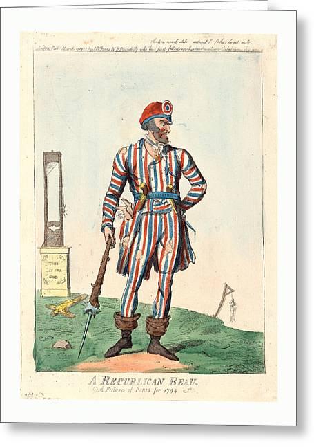 A Republican Beau, A Picture Of Paris For 1794, Cruikshank Greeting Card