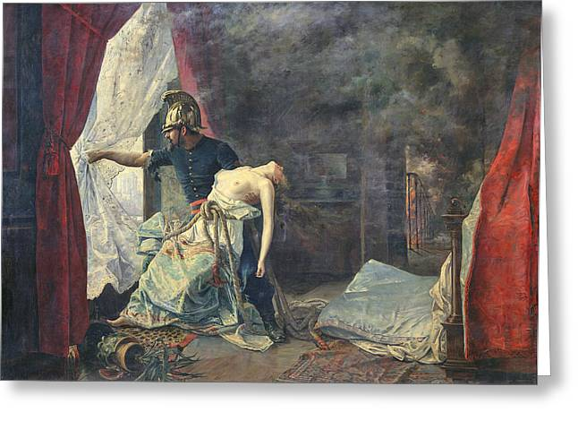 A Rescue In Paris, 1886 Oil On Canvas Greeting Card by Eugenio Alvarez Dumont