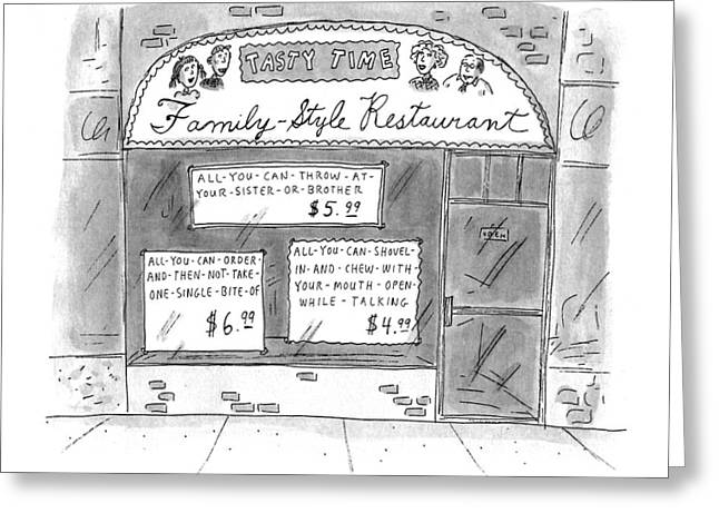 A Restaurant With Various Signs Greeting Card by Roz Chas