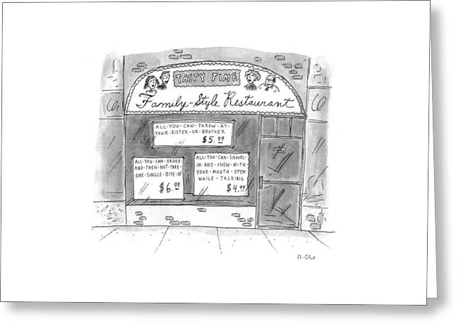 A Restaurant With Various Signs Greeting Card by Roz Chast