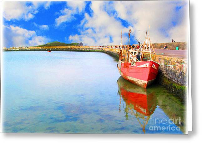 A Resting Boat Howth Ireland Greeting Card by Jo Collins