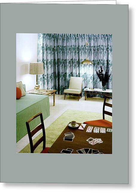 A Retro Bedroom Greeting Card by Haanel Cassidy