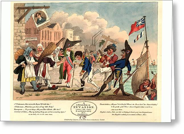 A Return From An Invasion, Or, Napoleon At A Nonplus Greeting Card by French School