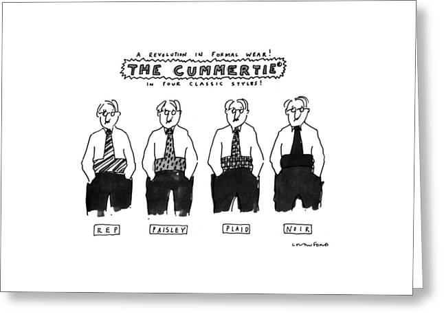 A Revolution In Formal Wear! The Cummertie Greeting Card by Michael Crawford