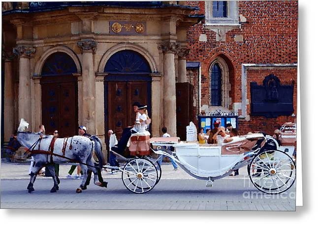 A Ride In Krakow Greeting Card by Jacqueline M Lewis