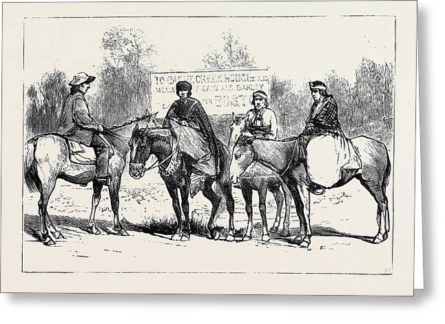 A Riding Party In British Columbia Greeting Card by English School