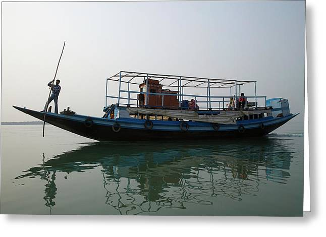 A River Ferry Traveling Through Indias Greeting Card