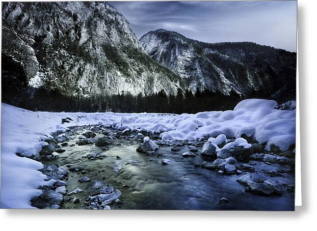 A River Flowing Through The Snowy Greeting Card by Evgeny Kuklev