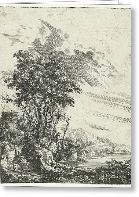 A River Landscape With A Man And A Goat, Gilles Neyts Greeting Card
