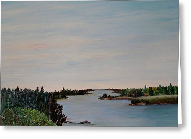 Greeting Card featuring the painting A River Shoreline by Marilyn  McNish