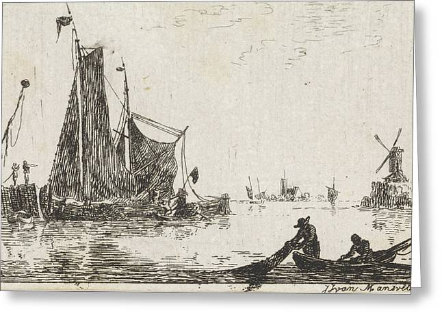 A River View With In The Foreground A Boat With Fishermen Greeting Card by Quint Lox