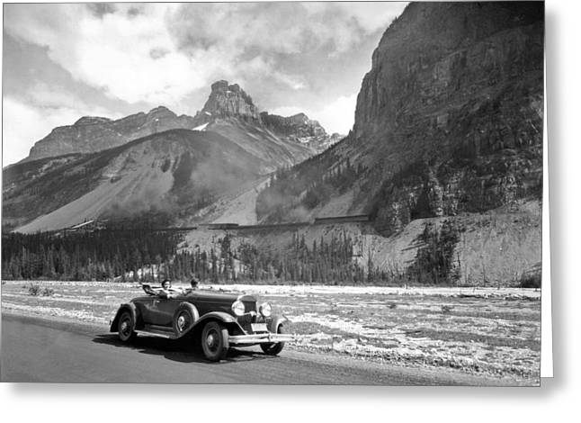 A Roadster In The Rockies Greeting Card by Underwood Archives