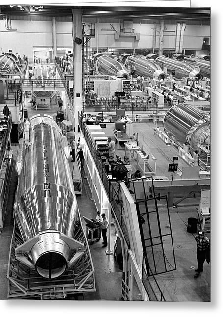 A Rocket Manufacturing Facility. Greeting Card by Underwood Archives