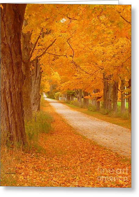 A Romantic Country Walk In The Fall Greeting Card by Lingfai Leung