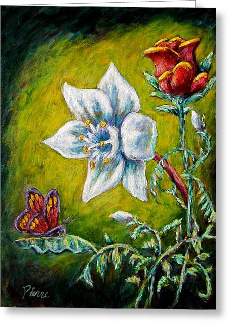 A Rose A Lily And A Butterfly Greeting Card by Sebastian Pierre