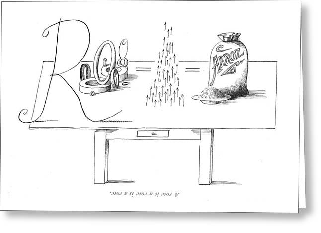 A Rose Is A Rose Is A Rose Greeting Card by Saul Steinberg