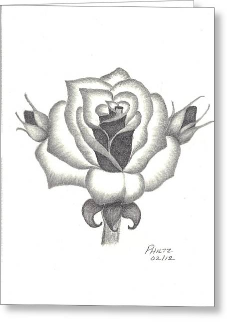 Greeting Card featuring the drawing A Rose  by Patricia Hiltz