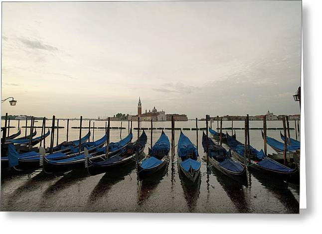 A Row Of Gondolas In The Lagoon Greeting Card