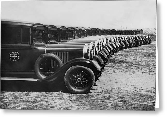 A Row Of Graham Automobiles Greeting Card