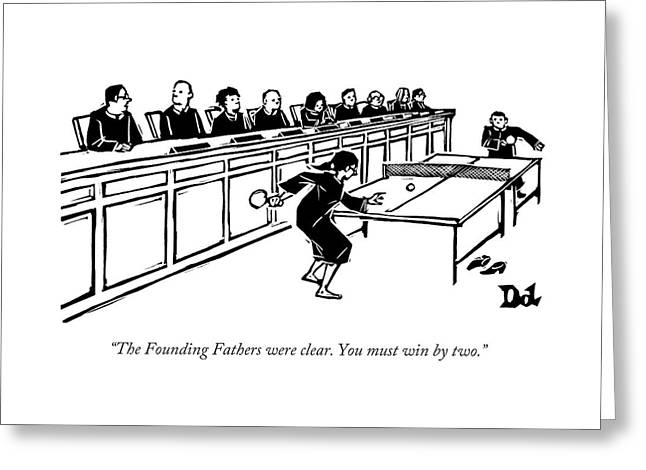 A Row Of Judges Sits At A Long Court Desk Greeting Card