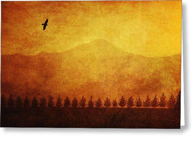 A Row Of Trees And A Raven Silhouetted Greeting Card by Roberta Murray