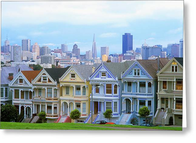 A Row Of Victorian Homes Typify San Greeting Card