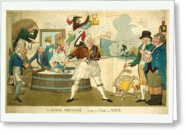 A Royal Brewery, Or How To Cook A Wife, Engraving 1821 Greeting Card