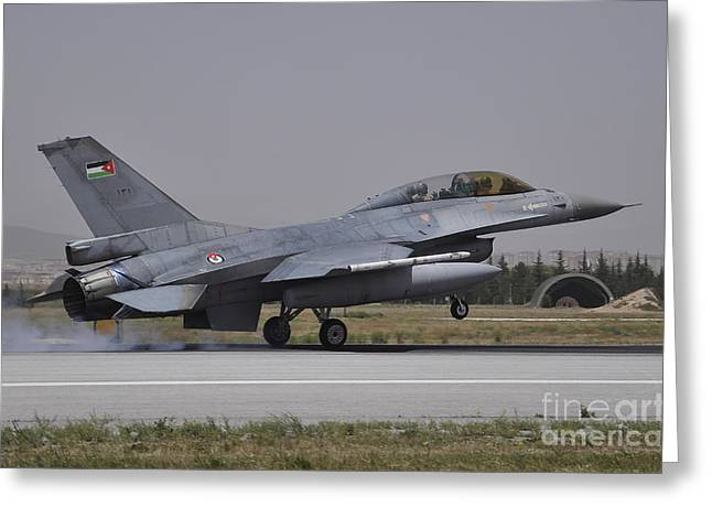 A Royal Jordanian Air Force F-16am Greeting Card by Giorgio Ciarini