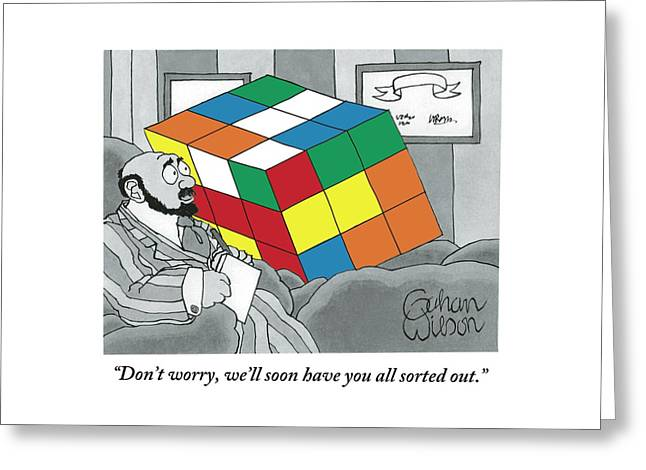 A Rubik's Cube Is Seen In A Psychiatrist's Office Greeting Card