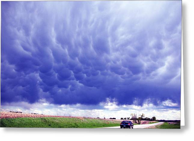 A Rural Nebraska Highway And Magnificent Sky Greeting Card by Tyler Robbins