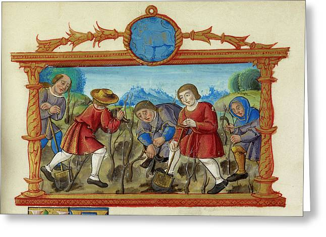 A Rural Scene People Digging And Planting Greeting Card by British Library