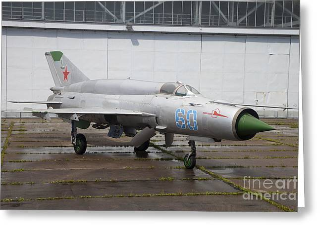 A Russian Mig-21smt Fighter Plane Greeting Card by Timm Ziegenthaler