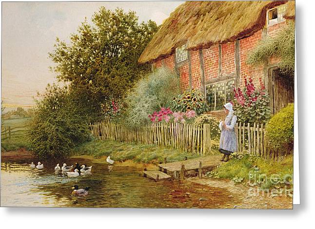A Rustic Retreat Greeting Card by Arthur Claude Strachan