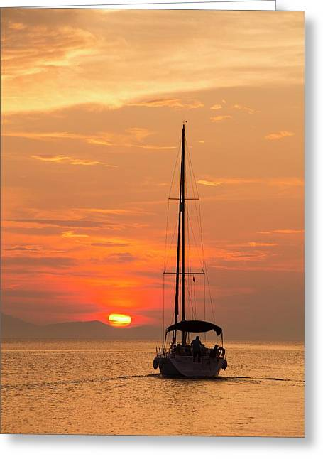 A Sailing Boat At Sunset Greeting Card by Ashley Cooper