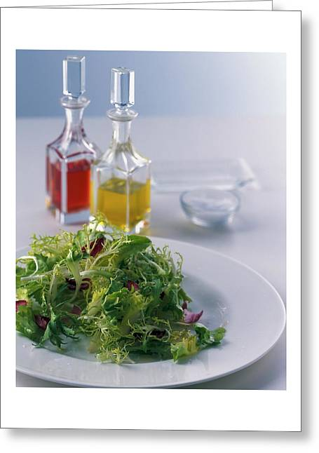 A Salad With Dressings Greeting Card