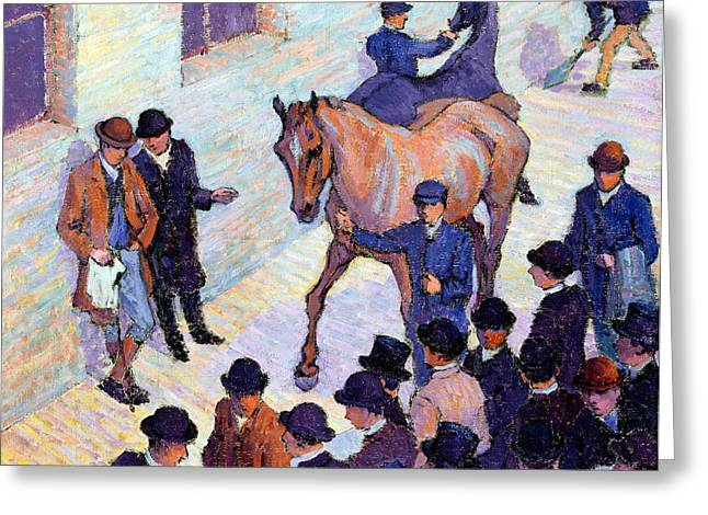 A Sale At Tattersalls, 1911 Greeting Card by Robert Polhill Bevan