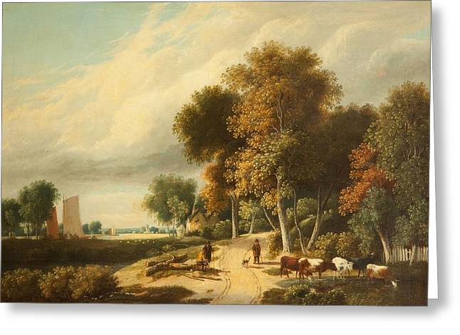 A Scene In Norfolk Greeting Card by Samuel David Colkett